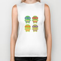 teenage mutant ninja turtles Biker Tanks featuring Teenage Mutant Ninja Kawaii Turtles by geraldbrio