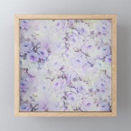 Vintage lavender gray botanical roses floral Framed Mini Art Print