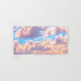 Beautiful Pink Cotton Candy Clouds Against Baby Blue Sky Fairytale Magical Sky Hand & Bath Towel