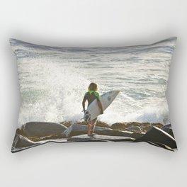 Checking the waves. Rectangular Pillow