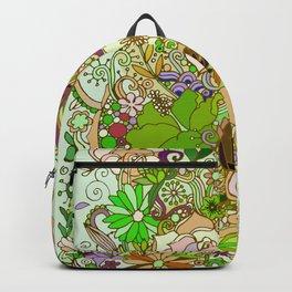 Detailed summer floral pattern, green Backpack