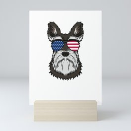 Patriotic America Schnauzer Dog Lover Gift Mini Art Print