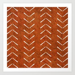 Orange And White Big Arrows Mud cloth Art Print