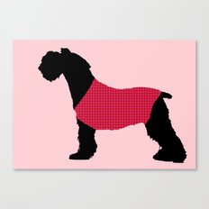German Schnauzer Dog Print on Pink Canvas Print