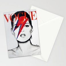 Vogue Magazine Cover. Kate Moss as David Bowie. Fashion Illustration. Stationery Cards