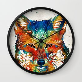 Colorful Fox Art - Foxi - By Sharon Cummings Wall Clock