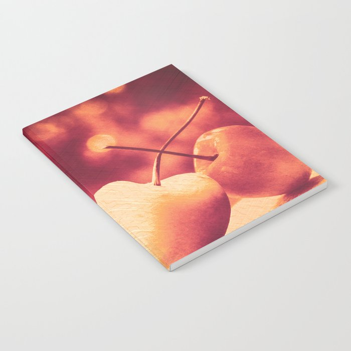 Sweet Moment (Rainier Cherries with Gold & Wine Red Bokeh Background) Notebook