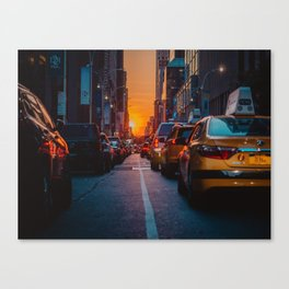 New York City Taxi Sunset (Color) Canvas Print