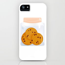 Chocolate chip cookie, homemade biscuit in glass jar iPhone Case
