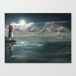 Lighthouse Under Back Light Canvas Print