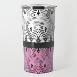 Art Deco 55 . White black and pink textures . Travel Mug