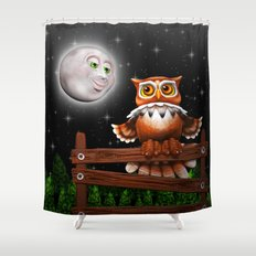 Surreal Owl and Moon Shower Curtain