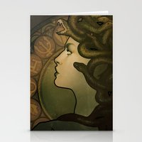 nouveau Stationery Cards featuring Medusa Nouveau by Megan Lara