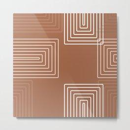 Baesic Retro Rectangles Rust Metal Print