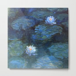 Monet water lilies 1899 blue teal Metal Print