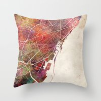 barcelona Throw Pillows featuring Barcelona by MapMapMaps.Watercolors