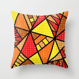 Red, Yellow and Orange Geometric Abstract Throw Pillow