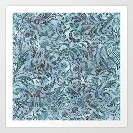 Watercolor Damask Pattern 08 Art Print