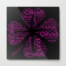 Olivia name gift with lucky charm cloverleaf word Metal Print