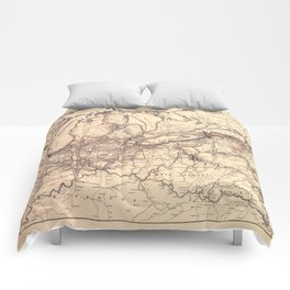 New York Central & Hudson River Railroad Map (1900) Comforters