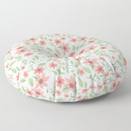 Salmon colored flowers on white Floor Pillow