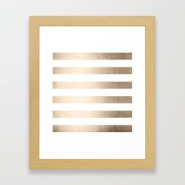 Simply Stripes in White Gold Sands Framed Art Print