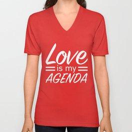LOVE IS MY AGENDA white Unisex V-Neck