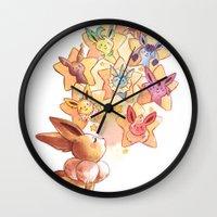 eevee Wall Clocks featuring Eevee Used Swift by Katy Farina