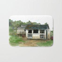 Chicken Coop Watercolor painting Bath Mat