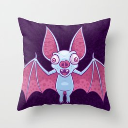 Albino Vampire Bat Throw Pillow