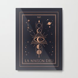 La Maison Dieu or The Tower Tarot Metal Print
