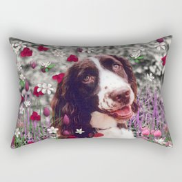 Lady in Flowers - Brittany Spaniel Dog Rectangular Pillow