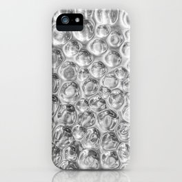 Beautiful polished silver metal texture with hammered circles or dots in a pattern iPhone Case