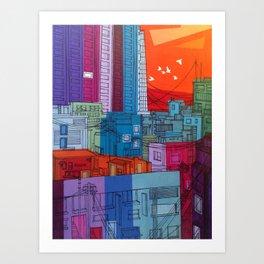 Neon Alleys #1 Art Print