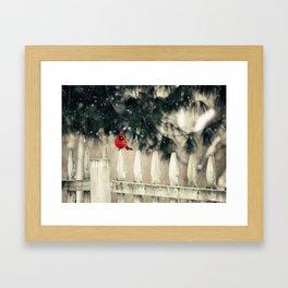 Snowy Day Cardinal Framed Art Print