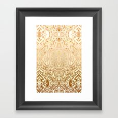 Tribal Swirl Pattern in Neutral Tan and Cream Framed Art Print