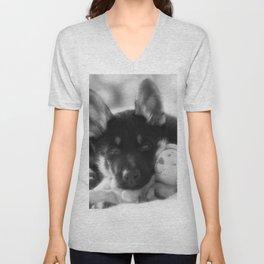#Black #white #Portrait of a #Shepherd #puppy. Unisex V-Neck