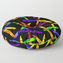 Primary Crayons Black Floor Pillow