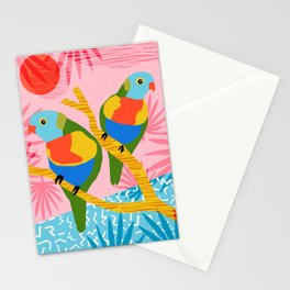 Besties - retro throwback memphis bird art pattern bright neon pop art abstract 1980s 80s style mini Stationery Cards