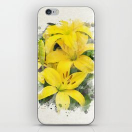 Lily Watercolor Art iPhone Skin