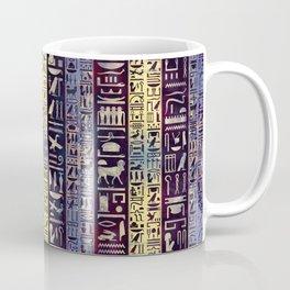 Egyptian hieroglyphs on purple violet painted texture Coffee Mug