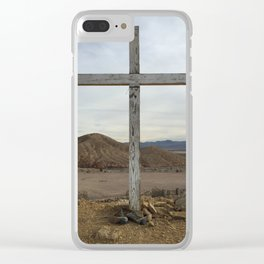 Cross with boots on ground - Calico Ghost Town cemetery Clear iPhone Case