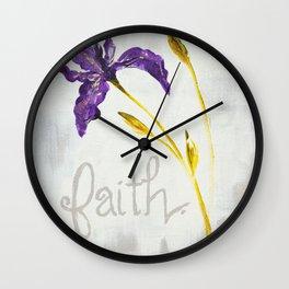 Faith Wild Iris by Ainé Daveéd Wall Clock