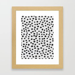 watercolor black polka dots Framed Art Print