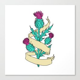 Scottish Thistle With Ribbon Color Drawing Canvas Print