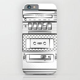 retro tape recorder illustration, cassette player drawing, 80s radio iPhone Case