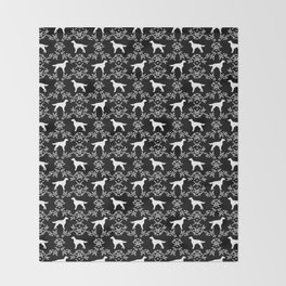 Irish Setter floral dog breed silhouette minimal pattern black and white dogs silhouettes Throw Blanket