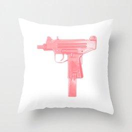Pink machine gun Throw Pillow