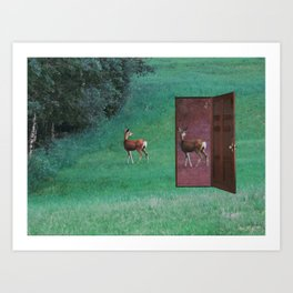 deer in a door Art Print