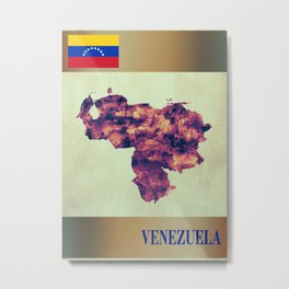 Venezuela Map with Flag Metal Print